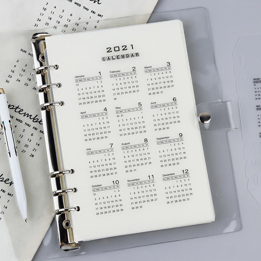 A5 & A6 2021 Calendar Index Card New Year Simplistic Minimalist Matte 6 Holes Clear Ring Binder Planner Divider
