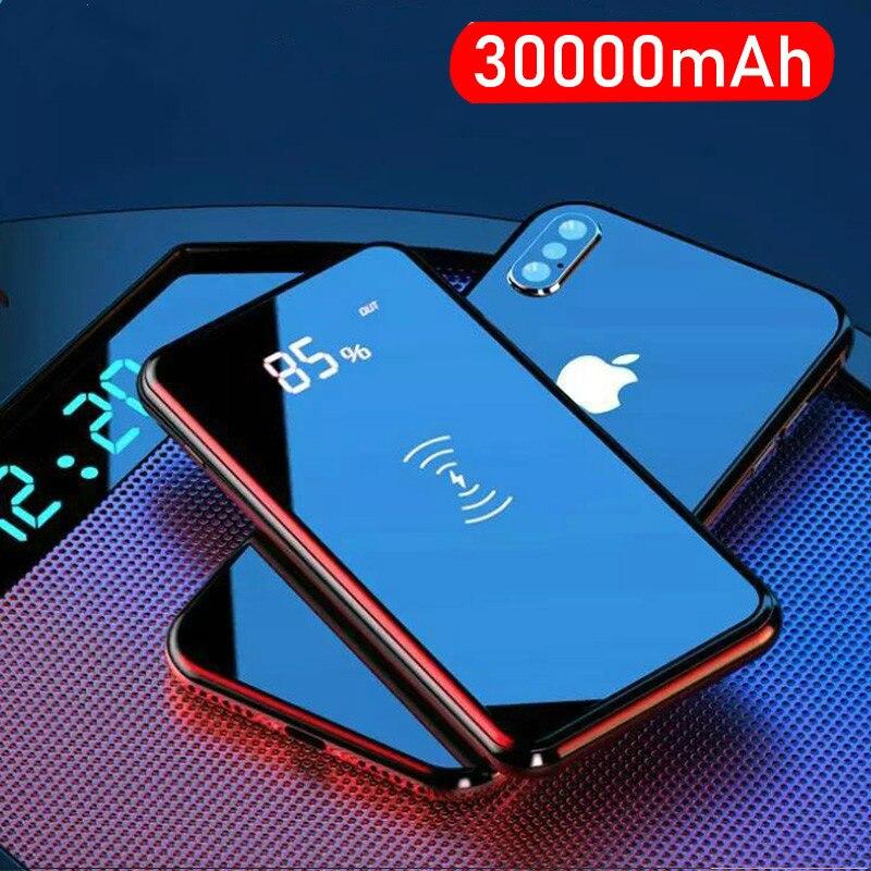 30000mah банк питания Беспроводное зарядное устройство для iPhone Samsung Внешний аккумулятор встроенный qi Беспроводное зарядное устройство портативное зарядное устройство