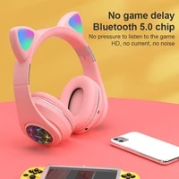 m2 wireless bluetooth 5 0 cat ear headphones with led flash light usage mode bluetooth aux pairing tf card 3 5mm audio jack