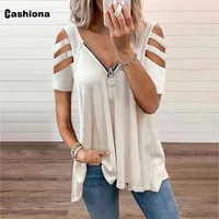 plus size 5xl womens top clothing hollow out sleeve t shirt patchwork zipper loose fashion 2021 summer casual tees shirt femme