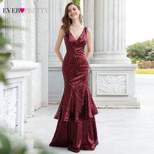 Mermaid Evening Dresses For Women Ever Pretty Sexy V Neck Sequined Gold Formal Maxi Dress Elegant Pa