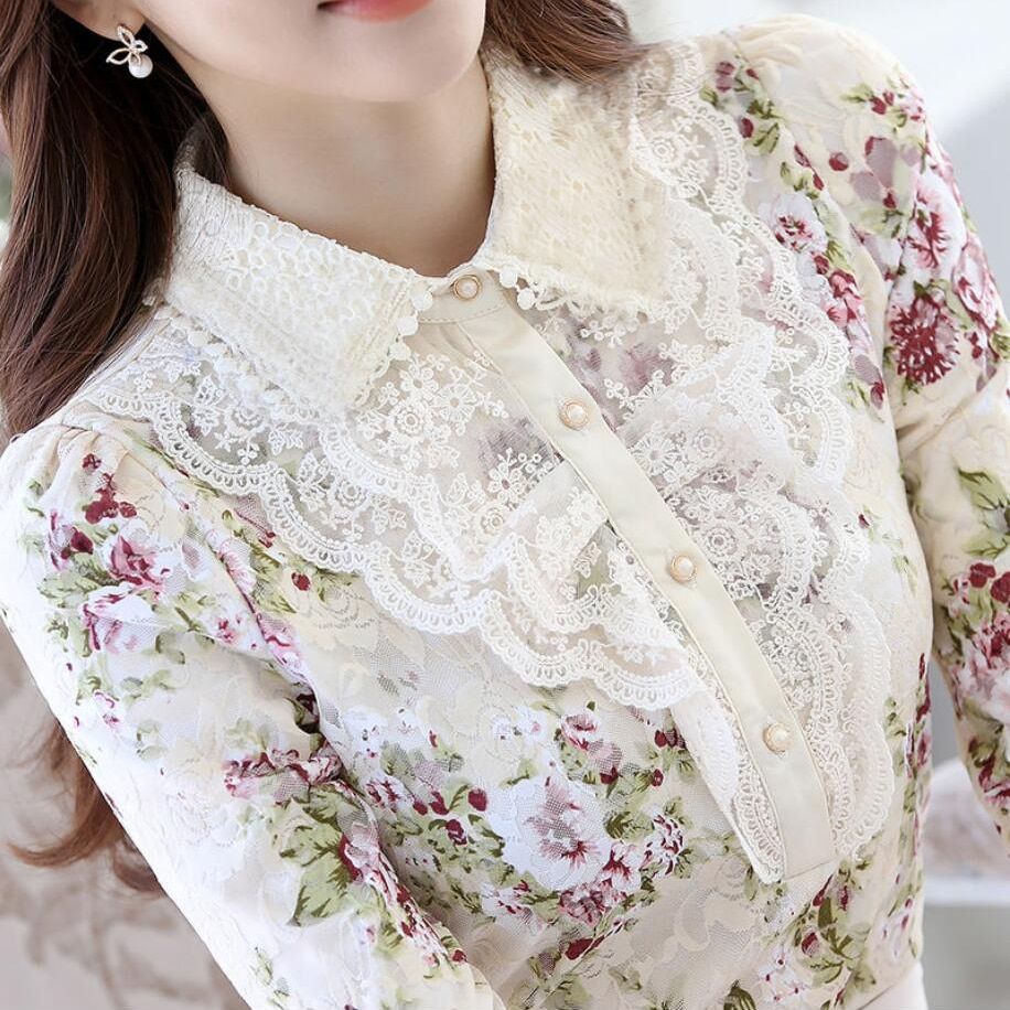 Long Sleeve Winter Blouses Womens Lace Tops Sweet Green Thick Floral Print Office Shirts Korean Lapel Slim Blouse Blusas Mujer