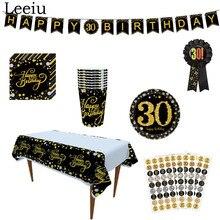 Leeiu-service de vaisselle jetable Happy 30 40 50e anniversaire   Faveurs danniversaire pour adultes, assiettes en papier noir et or, fourniture pour fête danniversaire