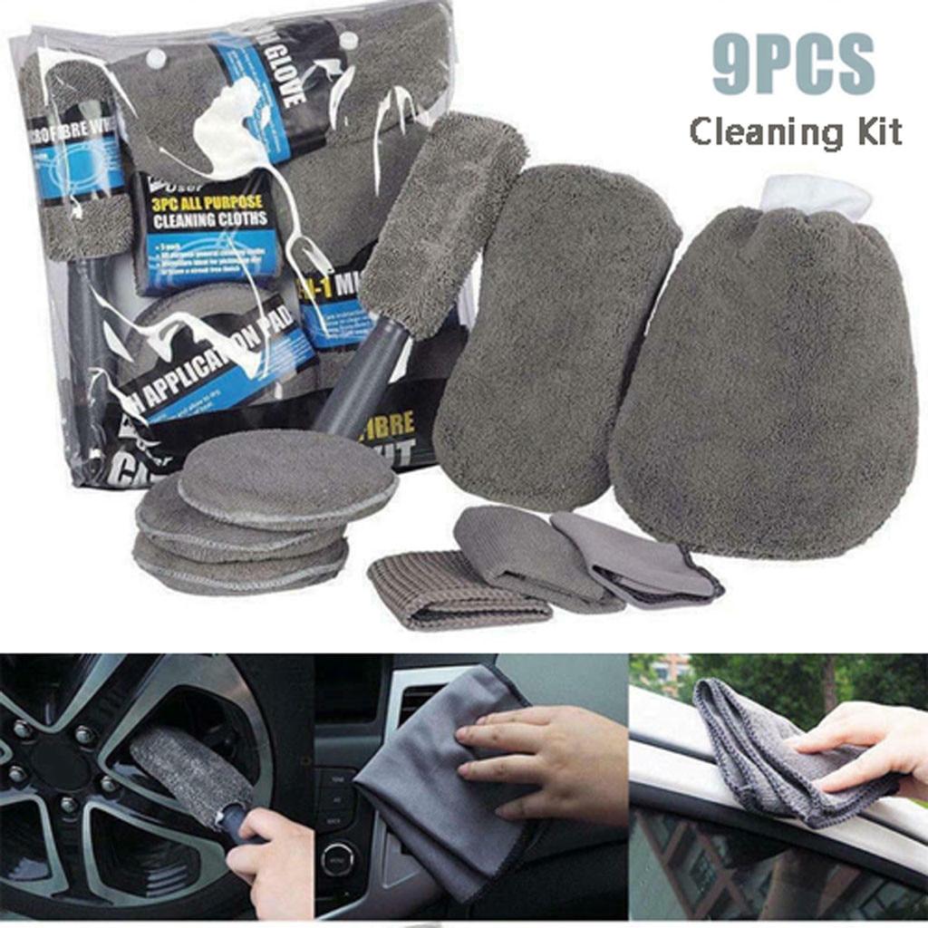 9PCS one set Of Car Wash Cleaning Kit Microfiber Car Detailing Washing Tools #33