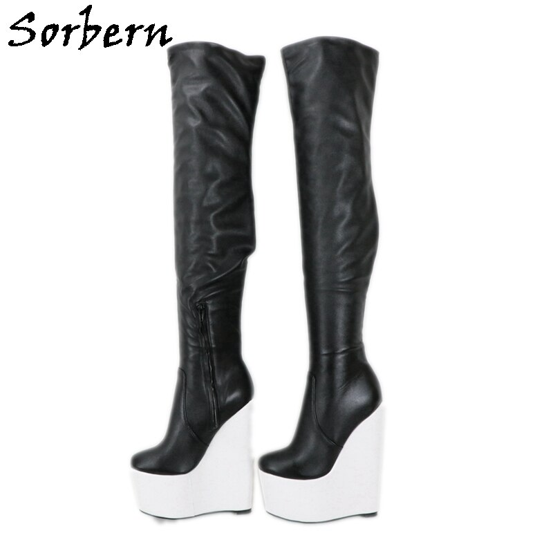 Sorbern الأسود مات أحذية طويلة النساء الأبيض أسافين عالية الكعب مخصص واسعة أو يتأهل الساقين منتصف الفخذ عالية التمهيد للجنسين زائد حجم 15