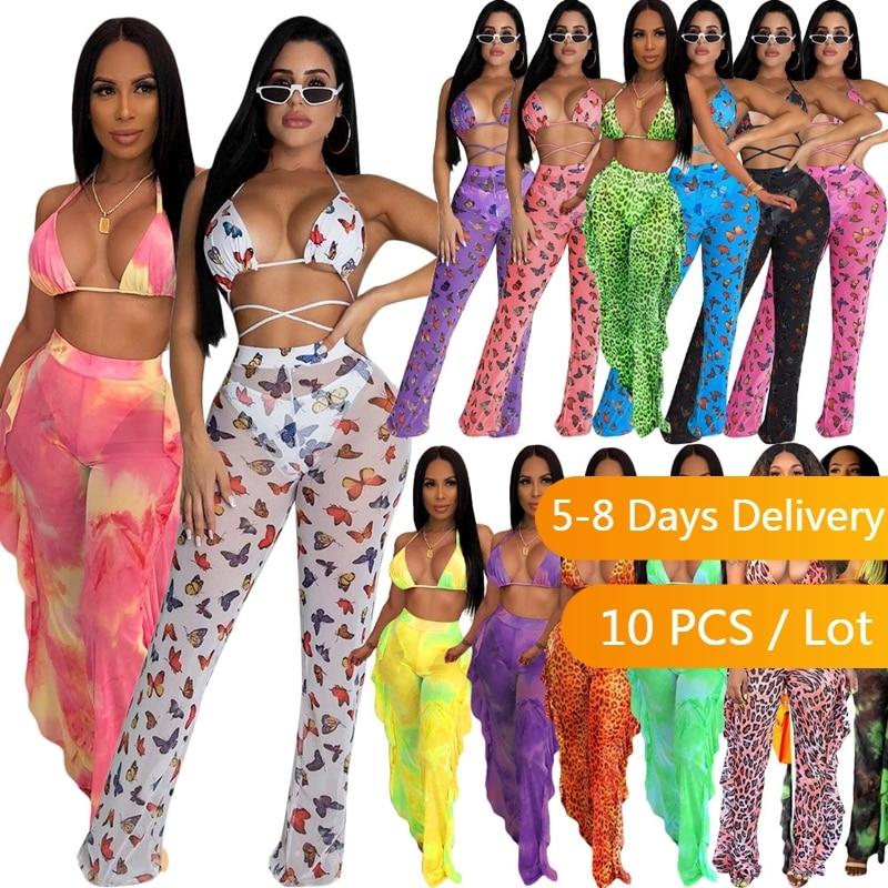 Bulk Items Wholesale Lots Summer Sexy 3 Piece Bikini Set Women Tie Dye Plus Size Sets Beachwear Crop Top Sheer Ruffles Pants Set