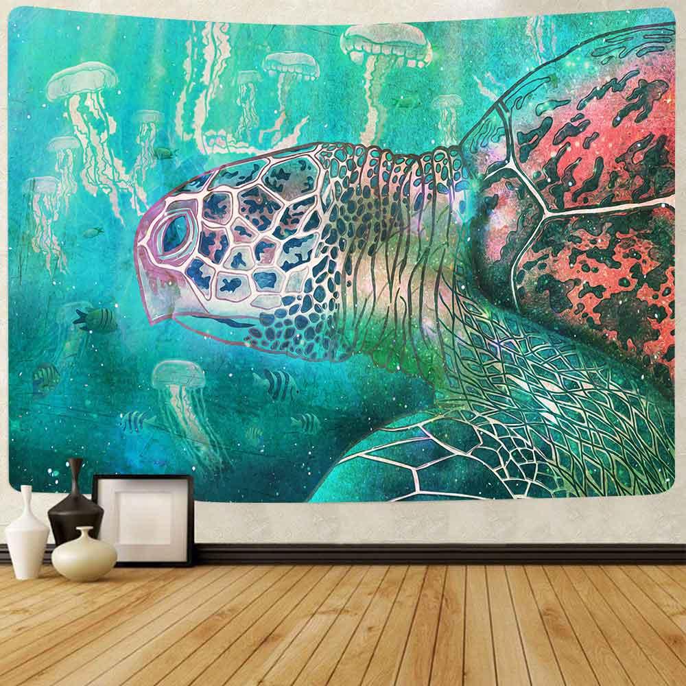 Сисант, морская черепаха, гобелен, океан, животные, морская жизнь, искусство, настенные подвесные гобелены для гостиной, искусство декора