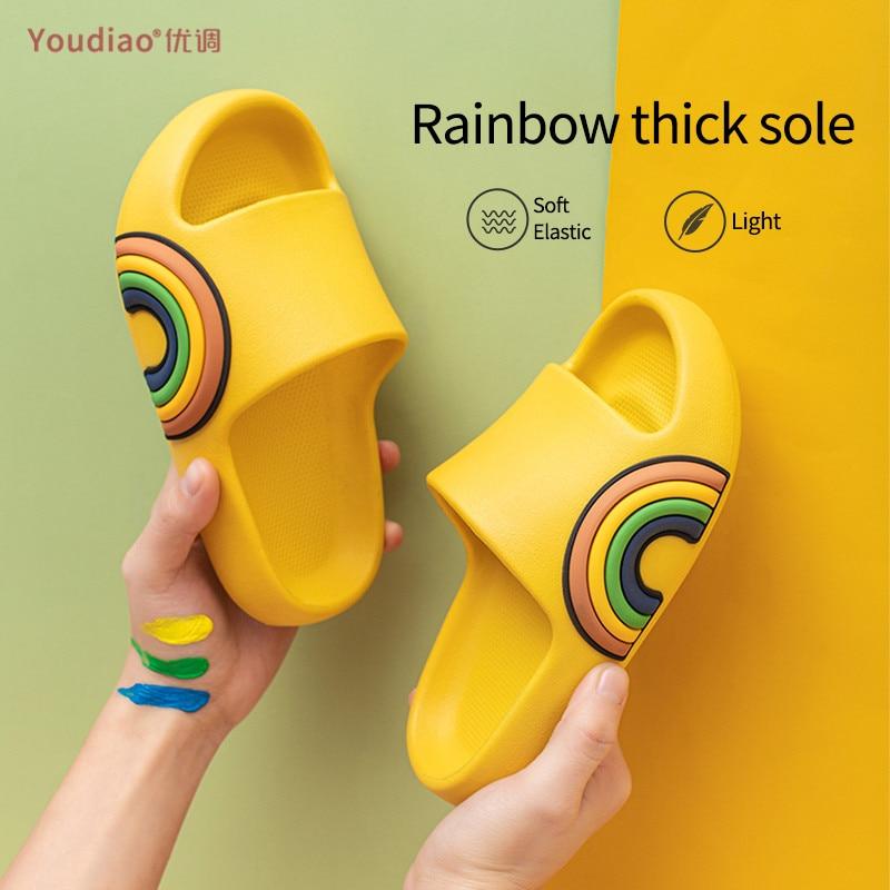 Youdiao Children Slippers Boys Girls Rainbow Beach Sandals Summer Shoes For Kids EVA Non-slip Cute S