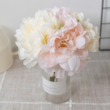 4pcs 아름다운 실크 모란 인공 꽃 꽃다발 흰색 큰 가짜 가짜 꽃 홈 인테리어 웨딩 파티 diy 정렬 블루