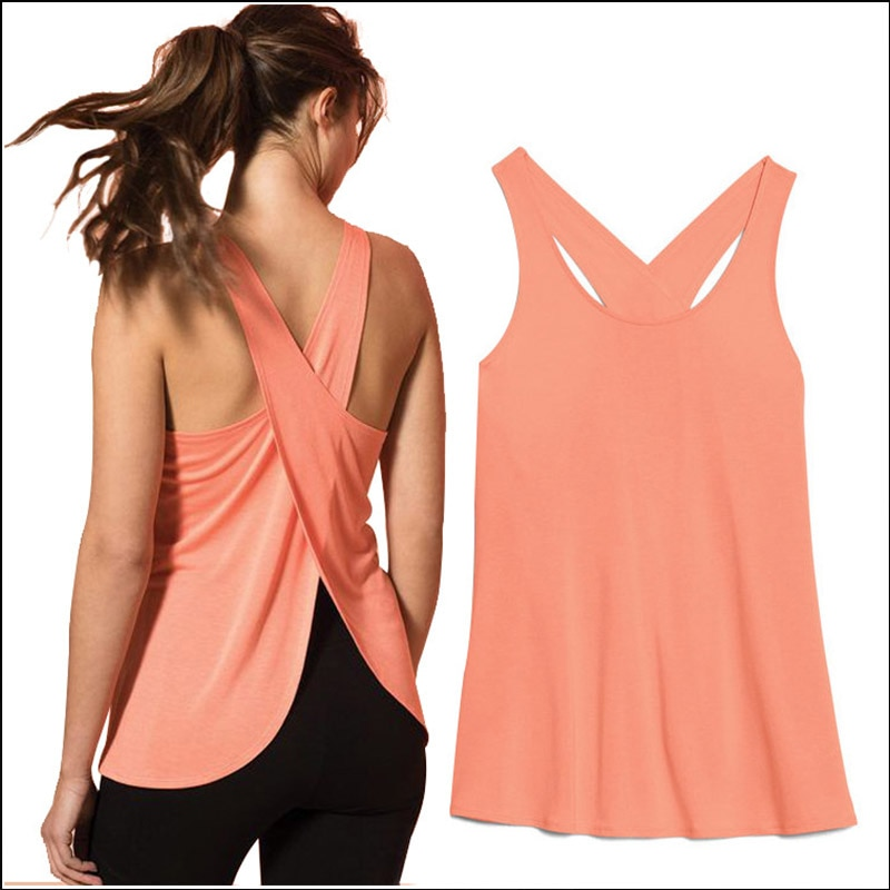 Zhangyunuo Yoga Solid Sport Vest Backless Fitness Tank Tops Women Active Wear Gym Crop Top Dyr Fit Solid Workout Sexy Shirt