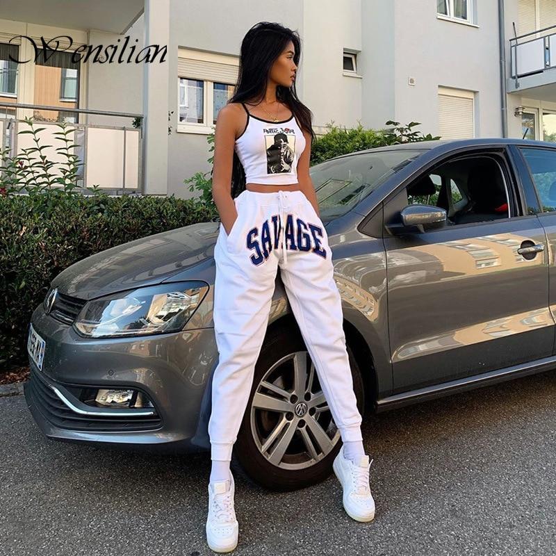 رسالة طباعة Sweatpants النساء السراويل البيضاء عالية الخصر عرق السراويل موضة الشارع الشهير الهيب هوب المرأة ركض الصيف فضفاض بنطلون
