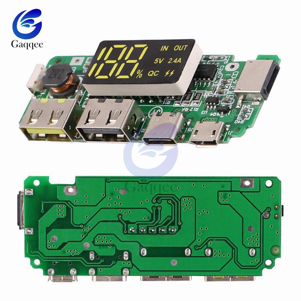 5V 2.4A Micro LED Dual USB/tipo-c banco de energía móvil USB 18650 módulo de carga Placa de cargador de batería de litio protección de circuito