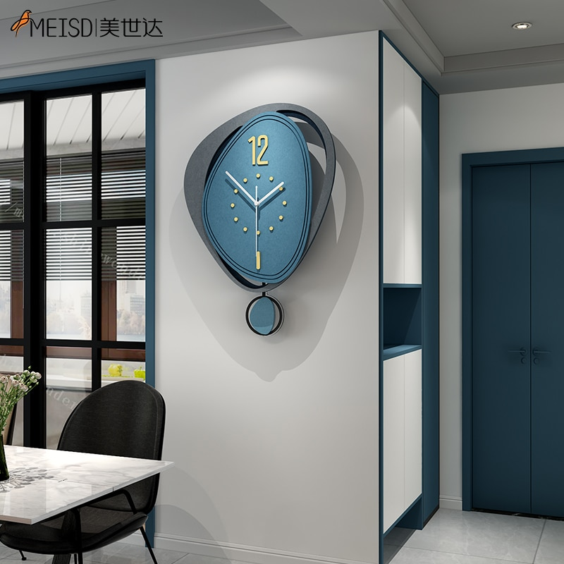 MEISD Decorative MDF Board Clock Wooden Home Decor Watch Pendulum Needles Minimalist Design Artistic
