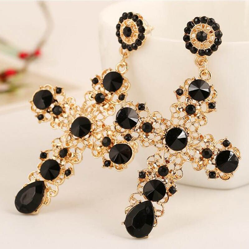 Earrings Jewelry European and American Vogue Vogue Is Popular Grandiose Style Cross Earrings Suits A Woman To Wear Earrings