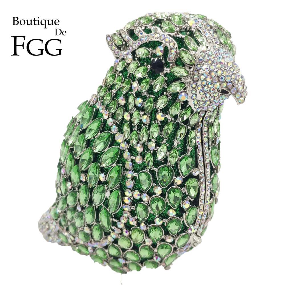 بوتيك دي FGG الأخضر مع الببغاء قزحي الألوان حقائب يد صغيرة النساء حقائب السهرة كريستال حفلة كوكتيل الراين حقائب اليد