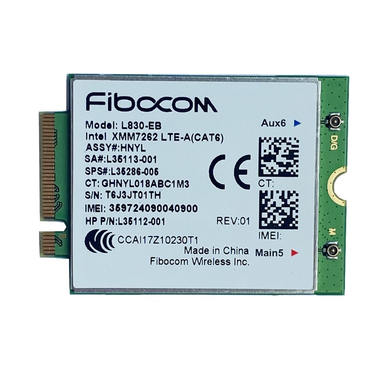 PLACA WWAN para HP L35286-005 4LTE L830-EB XMM 7262 LTE-Advanced Cat6 300Mbps para 640 650 840 846 850 G6 G5 X360 830
