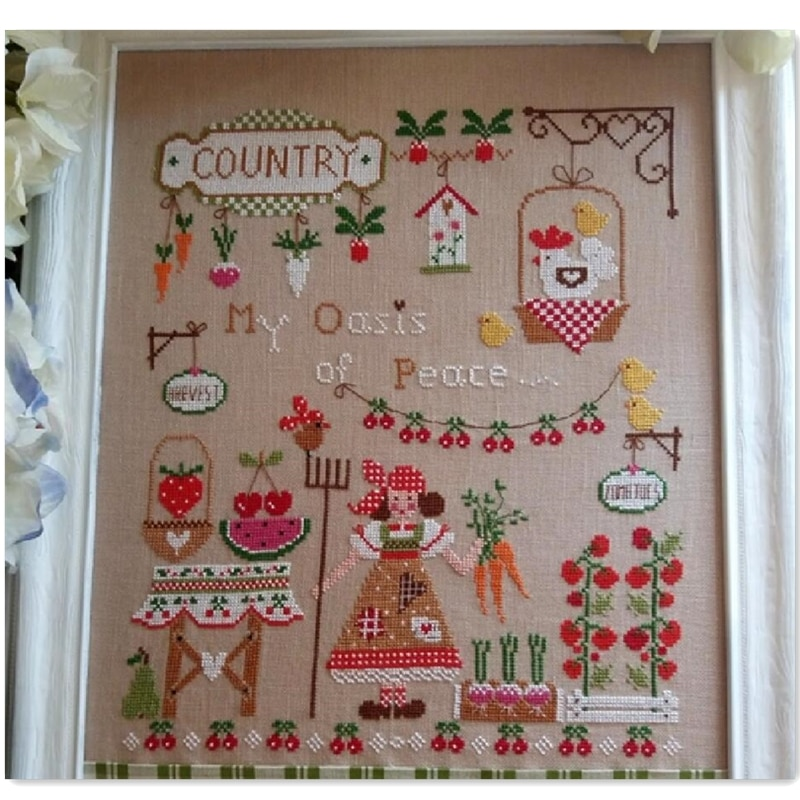 My garden cross stitch kit cartoon girl in country design 14ct 11ct linen flaxen canvas embroidery DIY needlework
