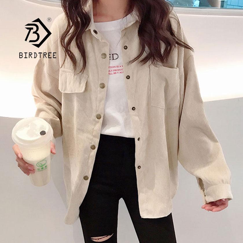2019 New Fashion Woman Corduroy Jacket Solid Shirt Single Breasted Turn Down Collar Long Sleeve Pocket Button Feminina T90801J