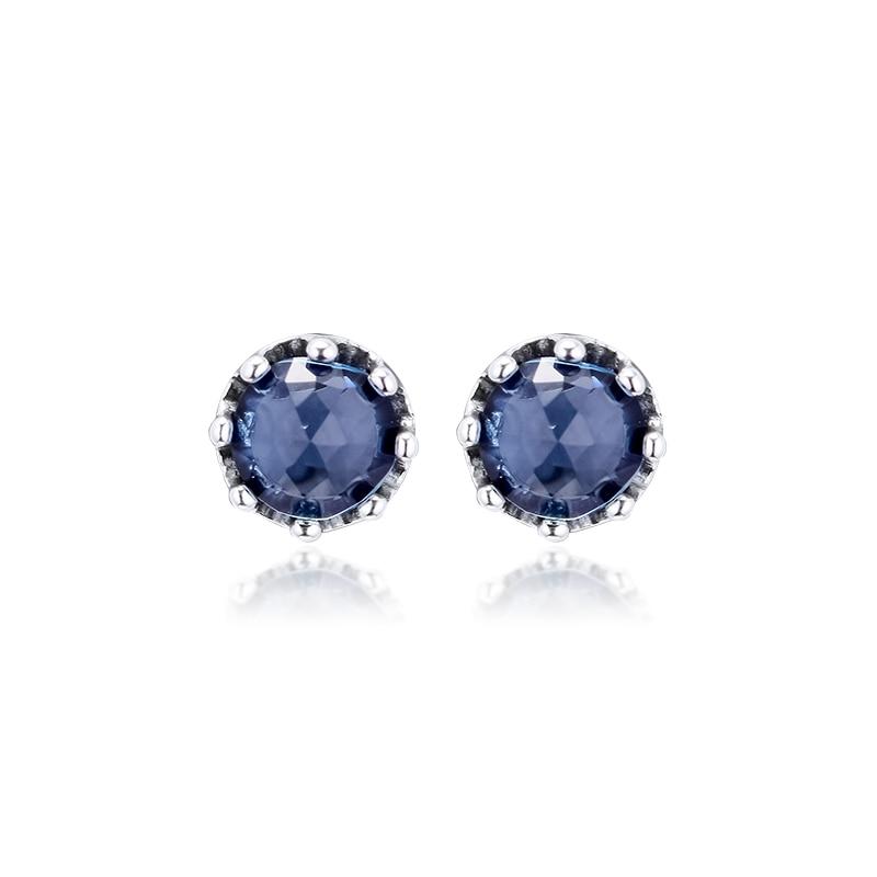 Azul cintilante coroa do parafuso prisioneiro brincos 925 prata esterlina jóias para a mulher compõem moda brincos femininos festa jóias