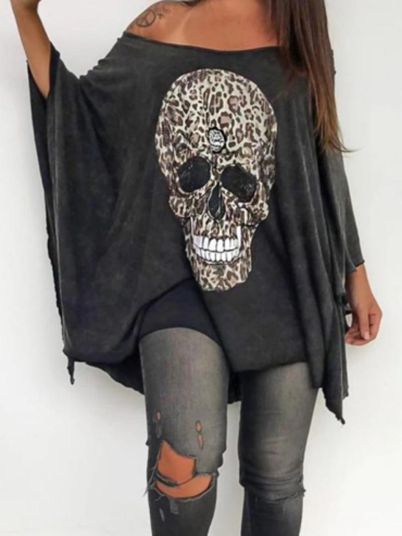 Punk Style T-shirt Women Casual Loose Slash Neck Off Shoulder Skull Print Batwing Sleeve Tops Tees  2021 Summer shirt Plus Size