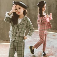 girls clothes autumn spring children clothing sets plaid jacketpants outfit girls clothing casual kids suit 4 6 8 9 10 12 years