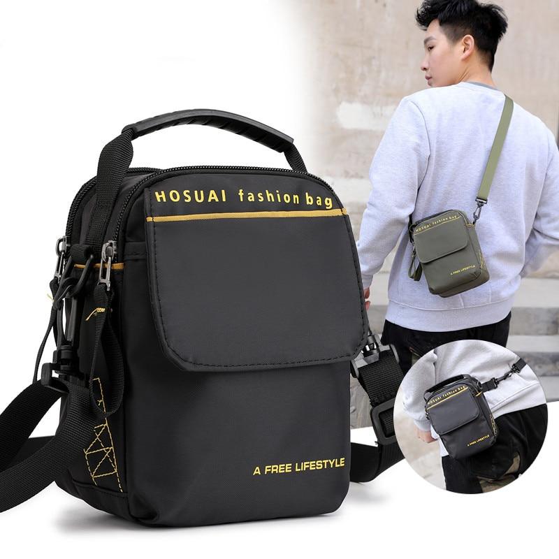 Fashion Men and Women Casual Small Square Bag Retro Canvas Vertical Shoulder Messenger Trend