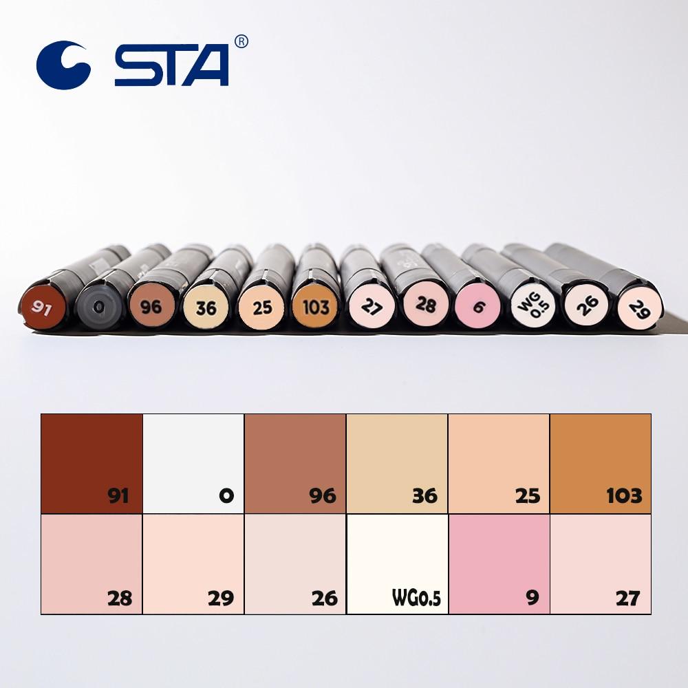 STA 12 Uds tonos de piel rotulador para bocetos lápiz artista doble cabeza Alcohol basado en Manga Set de diseño