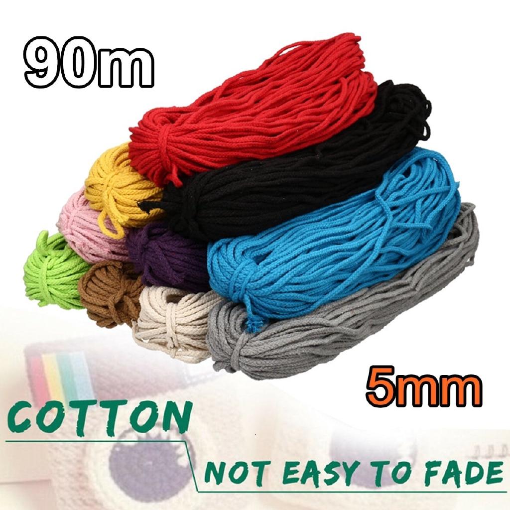 21 cor 90m 5mm 100 metros de algodão torcido corda cabo macrame diy artesanal artesanato tecido corda fio trançado casa têxtil decoração