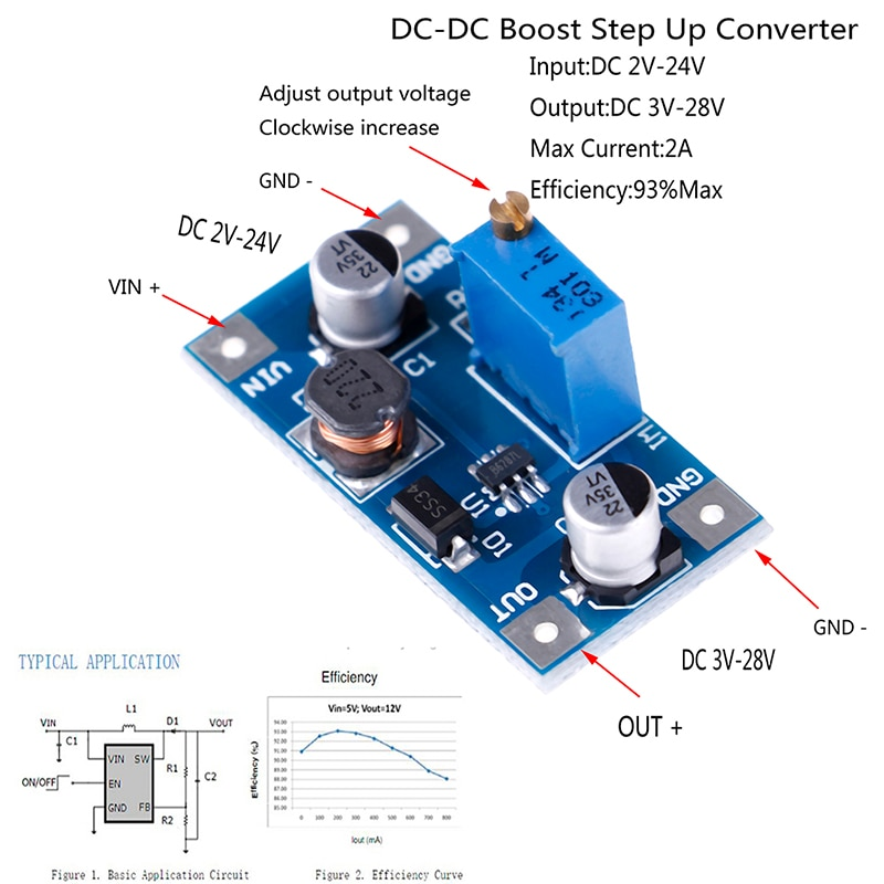 1PC 2A DC-DC Power Supply Boost Step Up Volt Converter 2V-24V To 3V 5V 6V 9V 12V 19V 3.2cmx1.6cm