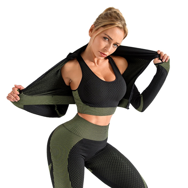 2021 3 PCS Seamless Yoga Set Women Gym Suits Wear Sport Running Clothes Fitness Sport Bra Yoga Suit Long Sleeve Yoga Pants