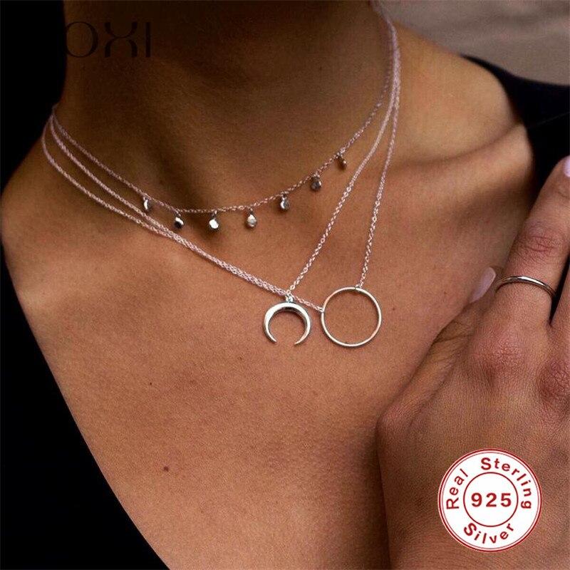 ROXI модное массивное ожерелье с роговым ожерельем, длинное ожерелье с полумесяцем, ожерелье с кулоном, женское ювелирное изделие, ожерелье из стерлингового серебра 925 пробы, колье
