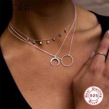 Roxi fashion statement horn colar maxi longo crescente lua pingente colar feminino jóias 925 prata esterlina gargantilha