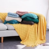 knitted throw thread sofa blanket on the bed sofa plain travel multifunction nap blankets soft towel winter blankets