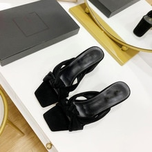 High Quality Outdoor Slip on Dress Shoes Real Leather Slipper Elegant Square Toe High Heels  Brand Designer Women Sandal Shoe