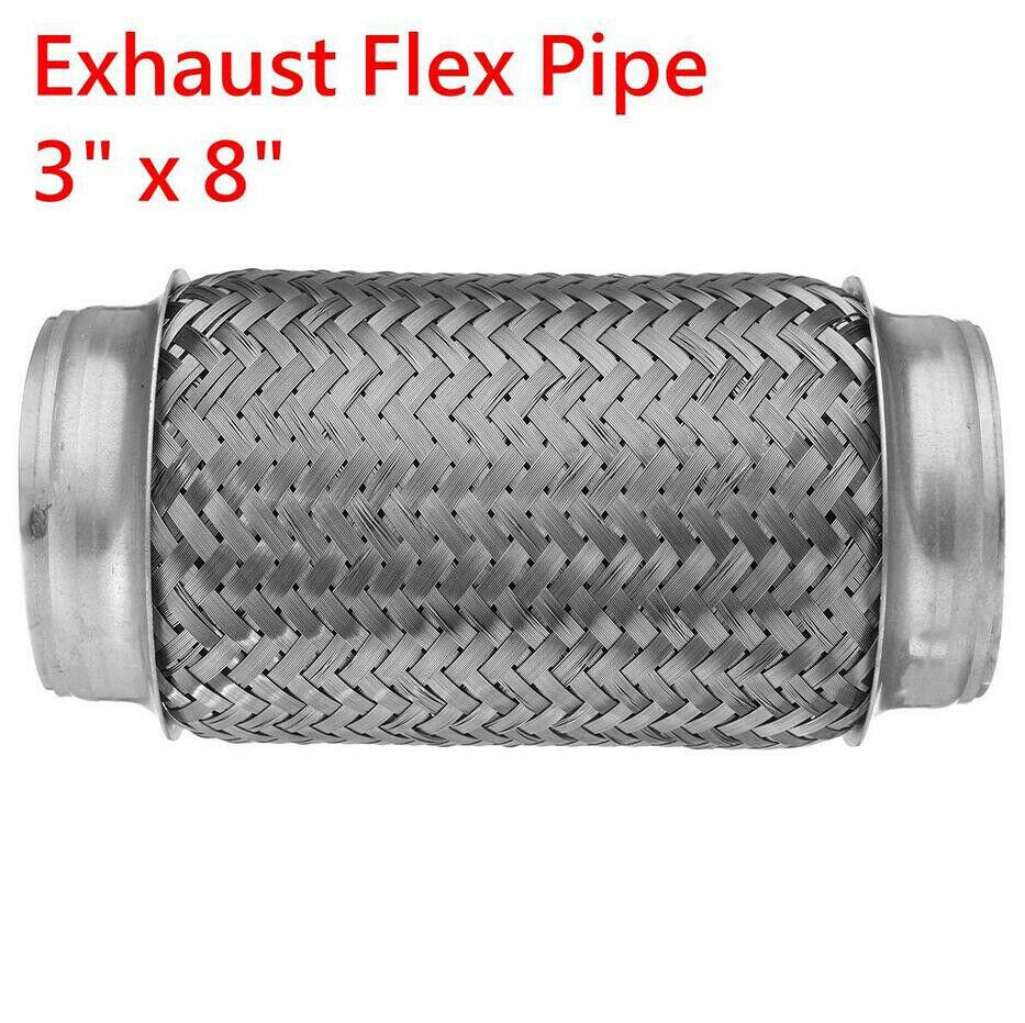 """Tubos de escape de aço inoxidável do carro 3 """"id x 8"""" l duplo trançado conector flex ripple sliver tubo conector junção acoplamento adapte"""
