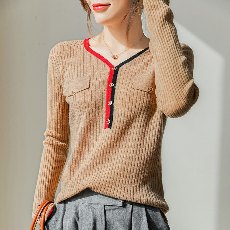 Hot Sale 100% Merino Wool Knitwear Woman V-neck Long Sleeve 4Colors Top Quanlity Jumpers High Elastic Ladies Clothes enlarge