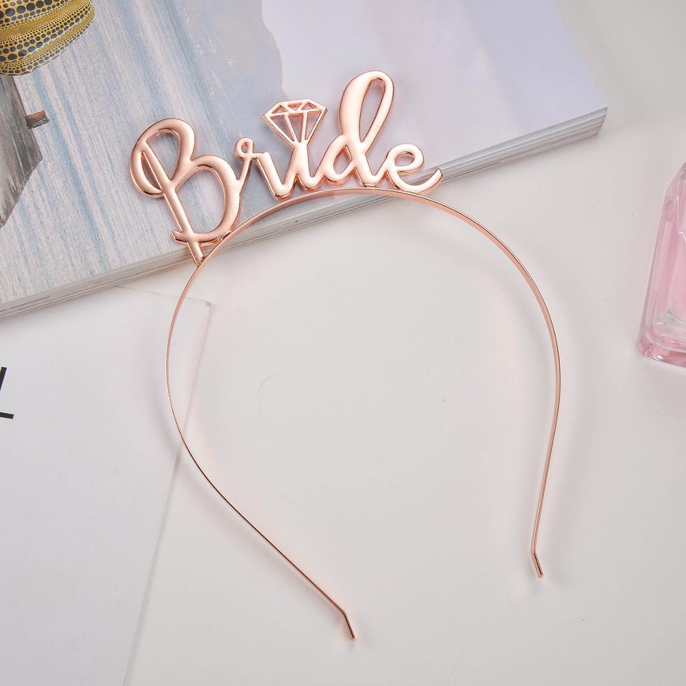 Nupcial ducha Novia a ser Tiara corona dorado rosado diadema despedida de soltera novia a ser boda fiesta Favor Decoración