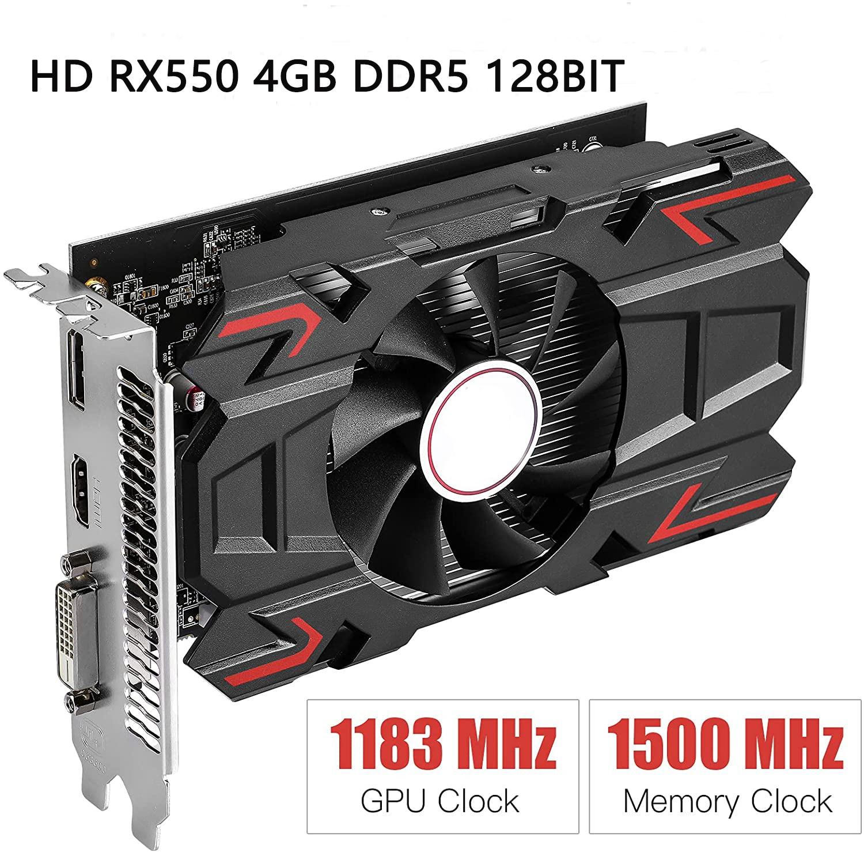 HD RX 550 بطاقة جرافيكس 1183 ميجاهرتز 4 جيجابايت 128 بت GDDR5 PCI Express DP/HDMI/DVI-D مخارج 4K For حاسوب شخصي مكتبي لعبة ترفيه