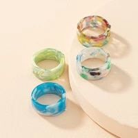 ins simple fashion acrylic resin geometric colorful round oping ring retro personality transparent men women jewelry gifts