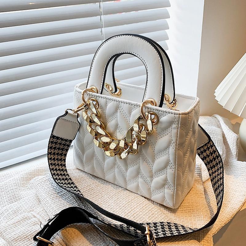 Lattice Square Tote Bag 2021 Summer New PU Leather Women's Designer Handbag Wide Shoulder Strap Shou