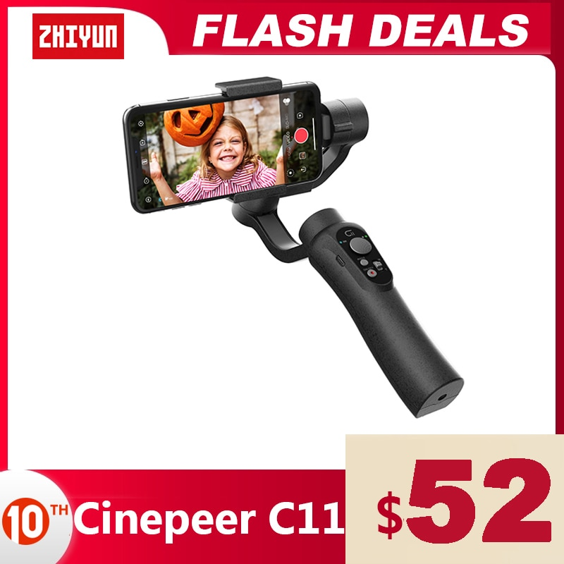 ZHIYUN Official CINEPEER C11 3-Axis Phone Gimbals Smartphone Handheld Stabilizer for iPhone/Samsung/Xiaomi Vlog vs Snoppa/DJI