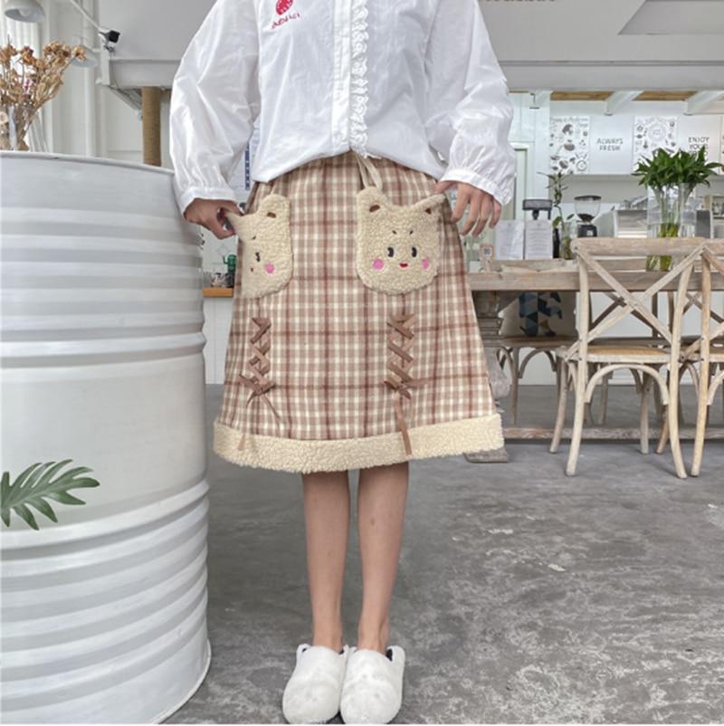 Japonés dulce lolita falda vintage entramado vendaje bolsillo de felpa falda victoriana kawaii chica gótico lolita sk loli cosplay