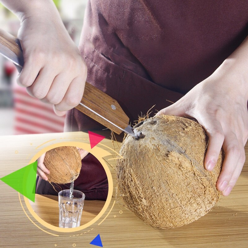 Fashion2Pack multifuncional Simple mango de madera de acero inoxidable antiguo abrelatas de cáscara de coco utensilio de corte para Cocina