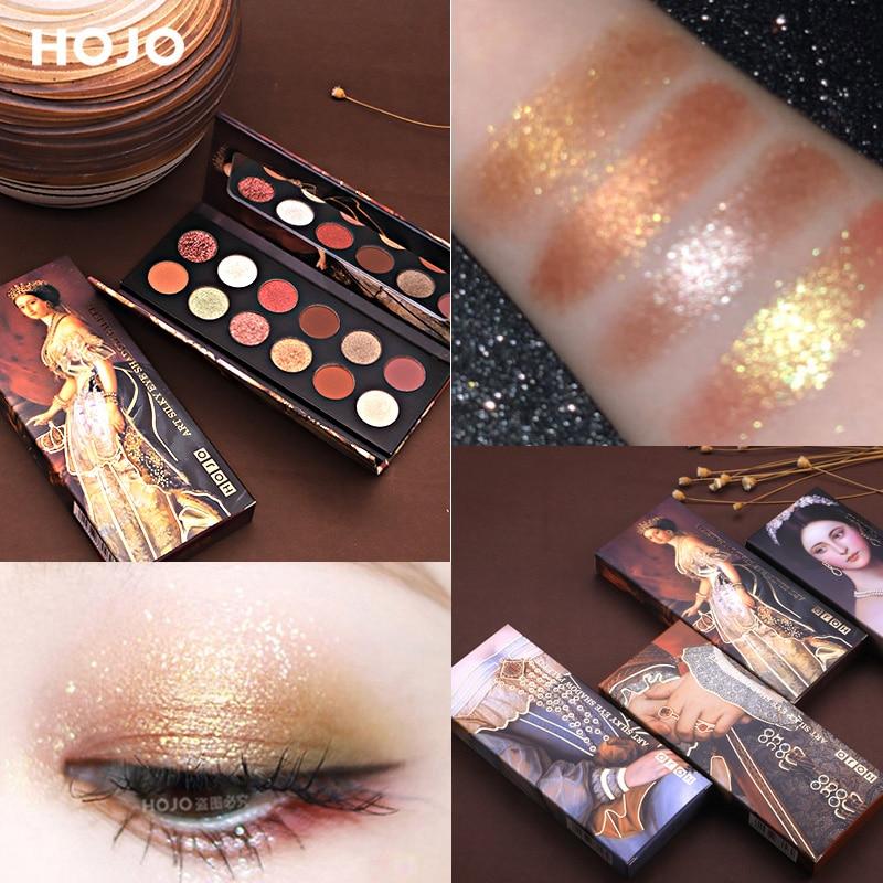 HOJO 12 Colors Artist Painting Palette Glitter Shimmer Matte Eye Shadow Kit Pigmented Eyeshadow Powder Makeup Nude Nautral Eyes