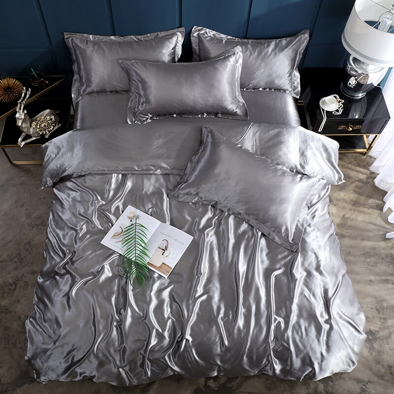 2020 New solid color satin silk solid color bedding set Home Textile King size bed set duvet cover flat sheet pillowcases