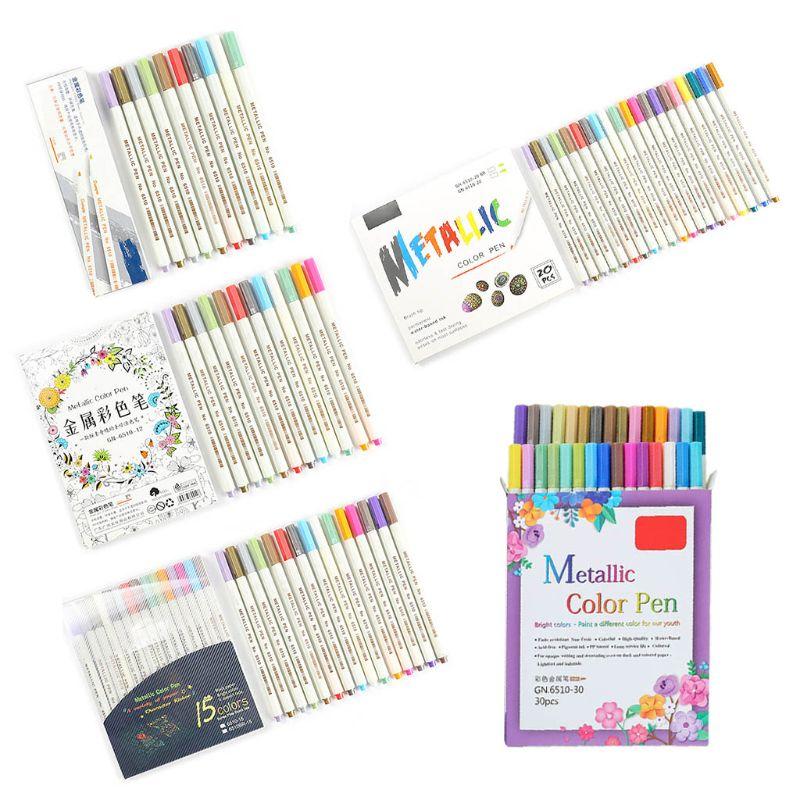 10/12/15/20/30 Colors Metallic Micron Pen Detailed Metal Paint Maker DIY Album QX2B