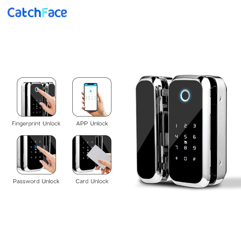 TTlock APP Fingerprint Smart  lock   WiFi remote control with IC card password for frameless glass door push or sliding door