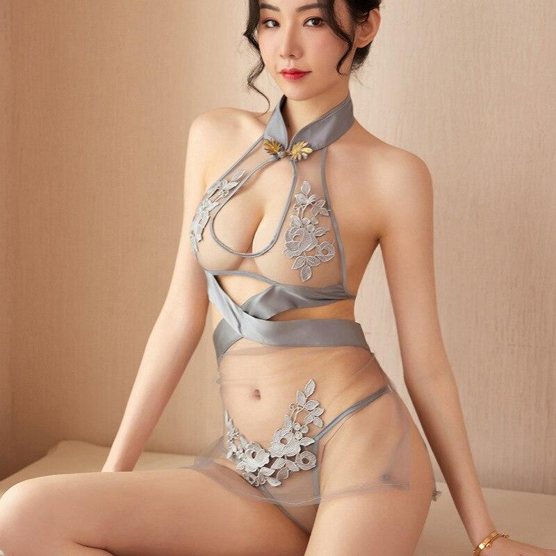 sexy underwear sexy lace pajamas split allure super coquette uniform mesh classic embroidery provoca
