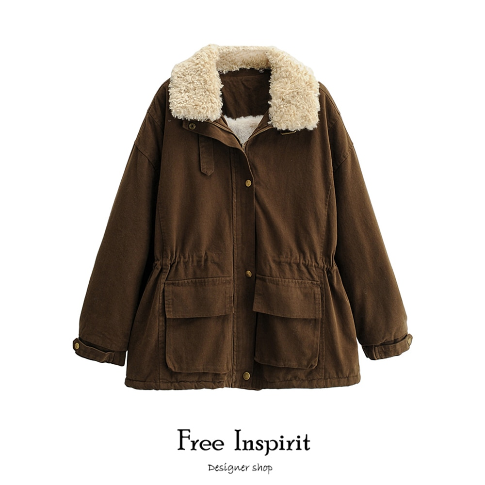 2020  New Arrival Winter Female Warm Thick Coat Lamb Hair Turn-down Collar Rabbit 's Hair Women's Drawstring Type Parkas