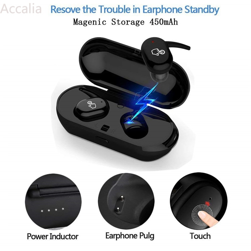 Hi-fi Noise Reduction Sound Quality Sports Headset Bluetooth Earbuds with Charging Box and Mic Waterproof Touch Control Earphone enlarge